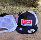 Ball Cap, KING Black with White Summer Mesh (with adjustable snap back closure )
