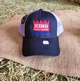 Ball Cap, KING Light Weight Black with White Summer Mesh, Embroidered Logo  (with adjustable snap back)