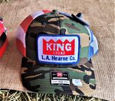 Ball Cap, KING Half Camo, Half US Flag Stars and Stripes Summer Mesh (with adjustable snap back)