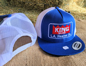 Ball Cap, KING Royal Blue with White Mesh Embroidered Logo (with adjustable snap back )