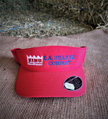 Ball Cap, VISOR KING Red with embroidered logo (with adjustable Velcro back)