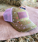 """Ball Cap, CRUEL """"Let's Be Cowgirls"""" YOUTH size, Cactus Print with Light Pink Summer Mesh  (adjustable light pink snap back)"""