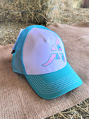 Ball Cap, by Wrangler YOUTH Ball Cap White with Pastel Steer Head Design Turquois Mesh (with adjustable snap back)