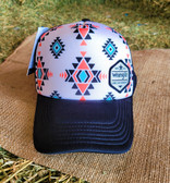 Ball Cap, by Wrangler Long Live Cowboys Indian Print with Black Mesh (with adjustable snap back)