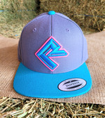 """Ball Cap, Turquoise Pink Detail Design on Charcoal Gray  Solid """"Rock Roll"""" (with adjustable snap back )"""