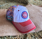 """Ball Cap, distressed by design, Rock and Roll Denim """"Rodeo Time POW POW Leroy Gibbons"""" Red, White, Indian Print Mesh (with adjustable snap back)"""