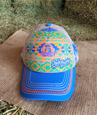 """Ball Cap, KING distressed by Design """"Dale Brisby"""" Sky Blue, Indian Print, off white mesh (with adjustable snap back)"""