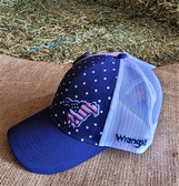 Ball Cap, by WRANGLER Red White Blue Running Horse (with adjustable snap back)