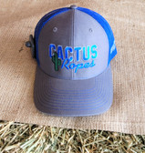 Ball Cap, by Cactus Ropes Gray with Royal Blue Mesh Core TX