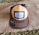 Ball Cap, by Wrangler Tan and Brown with Classic  Tin Logo Patch (with Snap Back)