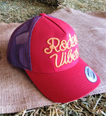 """Ball Cap, by CINCH Rope Logo """"Rodeo Vibes"""" Red, Purple, Gold (with adjustable snap back)"""