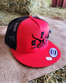 """Ball Cap, """"G P G est. 2021"""" embroidered, Red with Black Summer Mesh (with adjustable snap back)"""