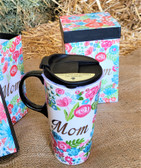 "Evergreen Ceramic ""Mom"" Cup  with Vent Lid  (holds 17 oz.) includes floral box"