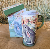 Evergreen Cypress Refresh (holds 17 oz.) Ceramic Cup Rabbit Design with lid and matching box