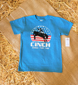 """Cinch Boy's Short Sleeved Tee Shirt """"Bucking Horse"""" Blue, shown in size 6 to 8 (Available in store only)"""