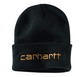 """Beanie, Carhartt Knit Cuffed Beanie Watch Hat (Black) """"Thinsulate"""" Fancy Stitched Logo, Stretchy...one Size Fits Adults Small Medium Large"""