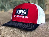 Ball Cap, KING Brand Red, White, & Black with embroidered logo (adult size, adjustable snap back)