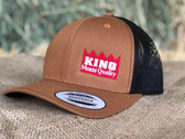 Ball Cap, KING Brand Brown Solid, Black Mesh, with embroidered logo (fits common adult sizes)