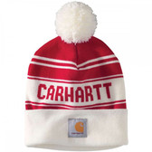 """Beanie, Carhartt Knit Cuffed Beanie Watch Hat (Holiday Red/White Striped """"Carhartt"""" letters) Stretchy...one Size Fits Adults Small Medium Large"""