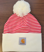 Beanie, Carhartt Knit Cuffed Beanie Watch Hat (Holiday Small Red/White Stripe topped w/ Yarn Ball ) Stretchy...one Size Fits Adults Small Medium Large