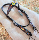 Weaver, Turquoise Cross Love My Horse Headstall (in store only)