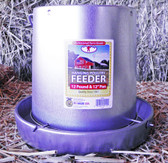 """Feeder, Little Giant Professional Grade Galvanized Hanging Poultry Feeder, Holds 12 lbs, 12"""" Pan"""