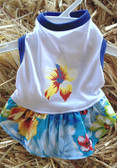 Canine BWW Hawaiian Blue Floral Dress, for small dog