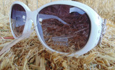 Montana West Ladies White Sunglasses, With Bling and Pistol Hardware Handles