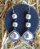 Jewelry, Brighton Women's Dangling Earrings, Silver Design Set in Charcoal Black, Adorned With Sparkling Bling