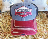 "Wrangler Men's Ball Cap ""Wrangler 1947"" Red Gray, Velcro Adjustable Back"