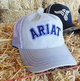 Ball Cap, Ariat Men's Ball Cap, Gray with Navy Logo, Velcro Adjustable Back