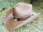 """Straw Cowboy Hat, """"Charley Horse"""" Cowboy Hat, Ladies Straw, Brown, Hat-Band Camo With Hardware, Size Med (In Store Only)"""