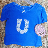 Infant/Toddler S/S Shirt, Wrangler All Around Baby Blue Horseshoe Top, shown in size 12 months (In Store Only)