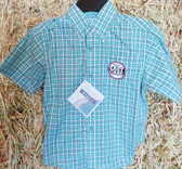 Wrangler Riata Boy's Short Sleeved Plaid Shirt, shown in size small (in store only)