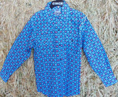 Back To School-All-Clothing-Sale-August!  Shirts, Pants, Outerwear!!! CINCH Boy's Long Sleeved Blue Red Black Floral Square Pattern Shirt, shown in size XS (In Store Only)