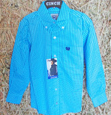Boy's L/S Shirt, CINCH Boys Long Sleeved Sky Blue Stripe Shirt, shown in size small (In Store Only)