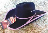 Lone Star Girl's Black Felt Cowgirl Hat With Pink Accents, Shown in Youth Size Large (In Store Only)