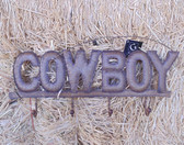 """P"" Brown Tin ""Cowboy"" Wall Hanging, Size 21"" x 10"""