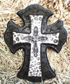 """P"" Wall Cross, Charcoal & White Leopard Design 10"" Tall"