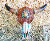 """P"" Home Decor Little Sculpted Steer Skull Wall Hanging, Synthetic Resin, 11"" Length x 13"" Wide"