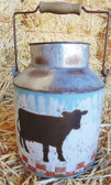 """P"" Little Tin Decorative Milk Bucket Painted with Cow"