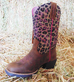 Ariat Girl's Leopard Design Boots, shown in size 9 (In Store Only)