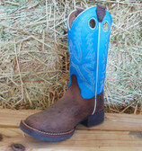 Justin Sky Blue and Brown Boots, Available in Youth Sizes (In Store Only)
