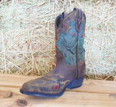 Girl's Boots, Dan Post Cowgirl Boots, Red Jade Brown Designs Youth Sizes (In Store Only)