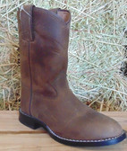 Justin Brown Leather Boots, Available in Youth Sizes, shown in size 9.5D (In Store Only)