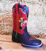 Boy's Boots, Ariat Boy's Square Toe Boot, Navy With Primary Color Details (In Store Only)