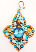 "Westen Charm Pendant With Rock and Bling Center, 3""  long"
