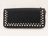 Blazin Roxx, Ladies Zip Up Black Wallet, Leather-Look With Bling