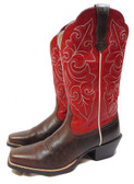 Women's Boots, Ariat Ladies Boots,  Round Up Square Toe, Washed Brown/Red (Available In-Store)