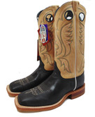 Justin Men's Boots, Black Burnished Calf Toast Tumbleweed  (Available In-Store)